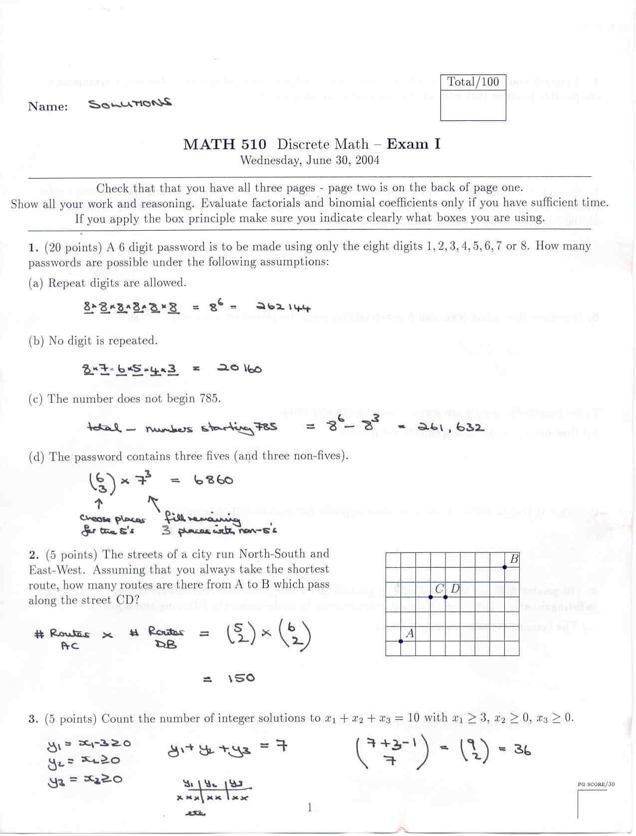 Summer 2004 Final Exam Solutions: pg1 pg2 pg3 pg4